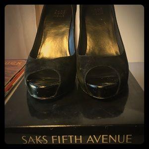 Saks fifth avenue suede peep toe heels